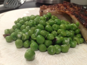 Finished peas and a pork chop.