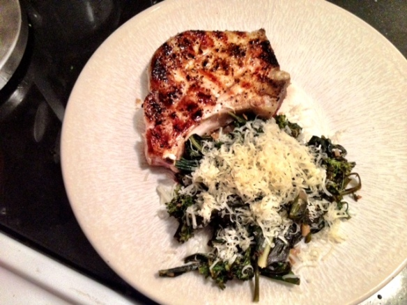 Dandelion greens and broccolini served with a simple grilled pork chop.