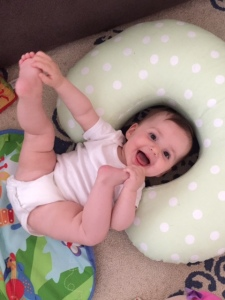 Our happy baby, who was not destroyed by not having the perfect bouncer when she arrived home from the hospital.